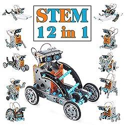 🔧【Kit robot solare 12 in 1】 Vieni con 190 pezzi. Costruisci 12 diversi tipi di robot da un kit. Include le parti mobili e di collegamento del robot come ingranaggi, piastre, pneumatici e alberi. Le parti possono essere facilmente smontate dopo il com...