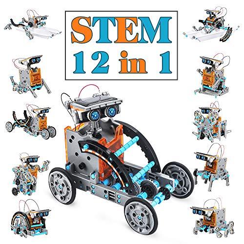 Giochi Per Ragazzi Di 8-12 Anni Maschio Giocattoli Robot Solare Educativi 12 in 1 ,Esperimento di Scienza Dell'edilizia Fai-da-te Per Bambini di Età Compresa Tra 8 e 12 Anni Robot Giocattolo