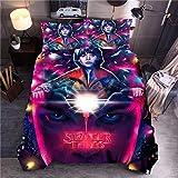 Yomoco - Juego de ropa de cama de Stranger Things, funda de edredón y funda de almohada, microfibra, impresión digital 3D, juego de cama de...