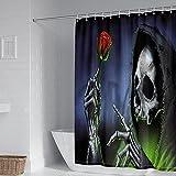 xczxc Polyester Duschvorhang Totenkopf rote Rose Anti-Schimmel Duschvorhang/Bad Vorhang Wasserdichter, Waschbar, mit 12 Duschvorhangringen 180 x 220 cm