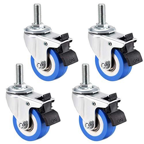 YeVhear - Ruedas giratorias de poliuretano de 2 pulgadas de diámetro, rueda azul, M10 x 25 mm, varilla roscada con freno, capacidad de 132 libras, 4 unidades