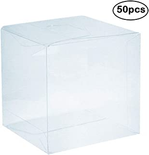 Clear PVC Plastic Boxes, 4 x 4 x 4 inch Plastic Gift Box Square Containers Transparent Packing Box for Party Favors, Wedding, Birthday Presents, Candy, Cupcakes, Jewelry, 50pcs