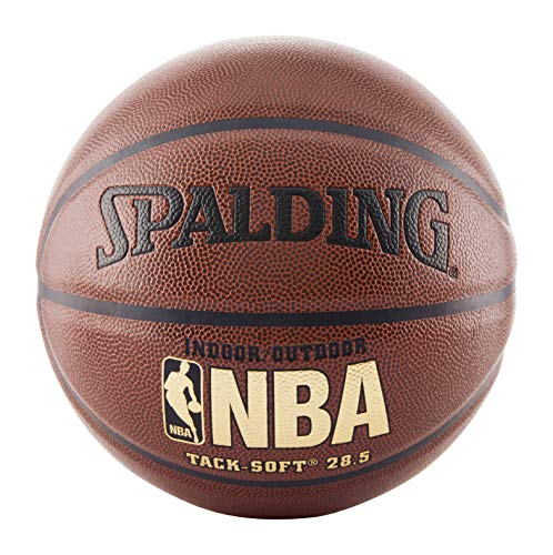 Spalding NBA Tack Soft Balón de Baloncesto Suave, Tamaño intermedio 6 (72.3 cm), Marrón, Intermediate Size and Weight: Size 6, 28.5'