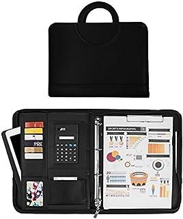 205ea4b90e4e6f Sysmarts Cartella Portadocumenti con Calcolatrice Portablocco A4  Folder/Organizzatore Cartellina Porta Documenti in PU Cerniera