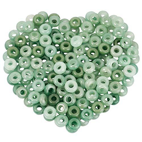 Nupuyai 20 perlas redondas de 6 mm para enhebrar, aventurina verde, joyas para el pelo, perlas para manualidades, joyas hechas a mano