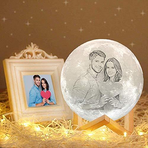 ACED Lampara Luna personalizada con tu 3d foto y texto, Lámparas decorativas personalizadas en 16 colores, Regalos romántico personalizadas para él para cumpleaños y día de San Valentín boda, 4.8inch