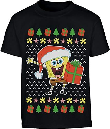 Weihnachtsmann Spongebob Offiziell Nickelodeon Shirt Kinder und Teenager T-Shirt 13-14 Jahre (164cm) Schwarz