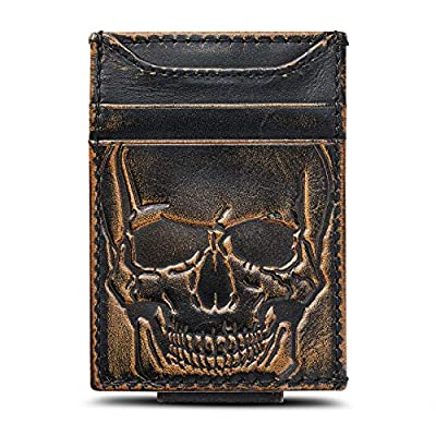 HOJ Co. SKULL Front Pocket Wallet   Slim Money Clip Wallet   Strong Magnetic Money Clip   Motorcycle Wallet