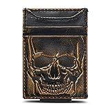 HOJ Co. SKULL Front Pocket Wallet | Slim Money Clip Wallet | Strong Magnetic Money Clip | Motorcycle Wallet