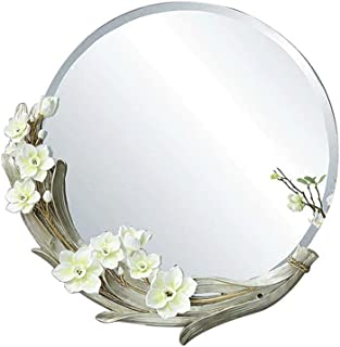 Qing MEI Creative Round Bathroom Mirror Bedroom Makeup Mirror Living Room Wall Decorative Mirror Bathroom Carved Wall Hanging Mirror
