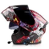 Casco apribile, casco integrale, casco moto con auricolare Bluetooth, doppia visiera, casco moto integrale, casco omologato ECE uomo donna 6,XXXL=63-64CM