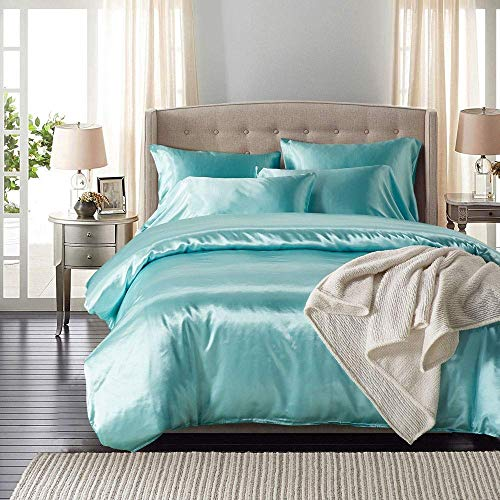 Chtom Bedroom Bedding Light Blue Soft Silky High Simulation Silk Simple Fiber Set Three-Piece Pillowcase 2 / Quilt Cover (Size : Double) (Color : -, Size : King)