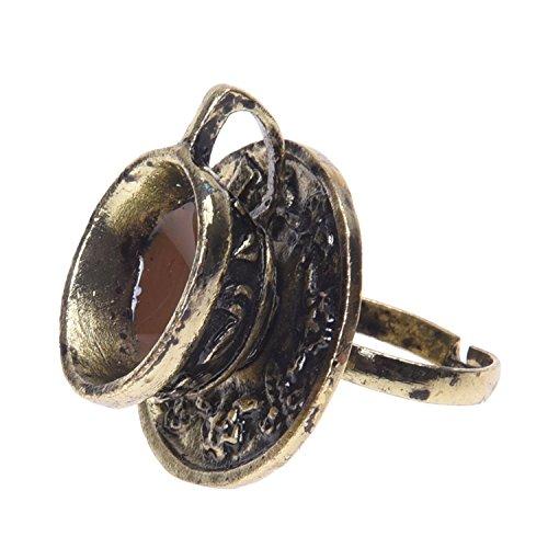 TOOGOO(R) 1x Retro Metall Ring Fingerring Ringe Damenring schwarz Kaffeetasse einstellbar