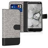kwmobile Hülle kompatibel mit Motorola Moto Z2 Force - Kunstleder Wallet Hülle mit Kartenfächern Stand in Grau Schwarz