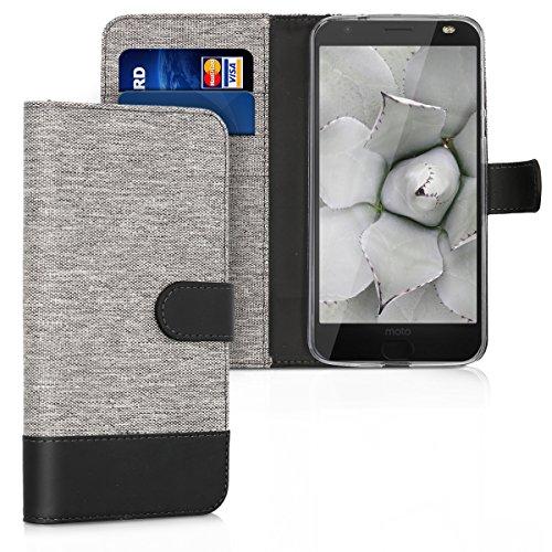 kwmobile Wallet Hülle kompatibel mit Motorola Moto Z2 Force - Hülle Kunstleder mit Kartenfächern Stand in Grau Schwarz