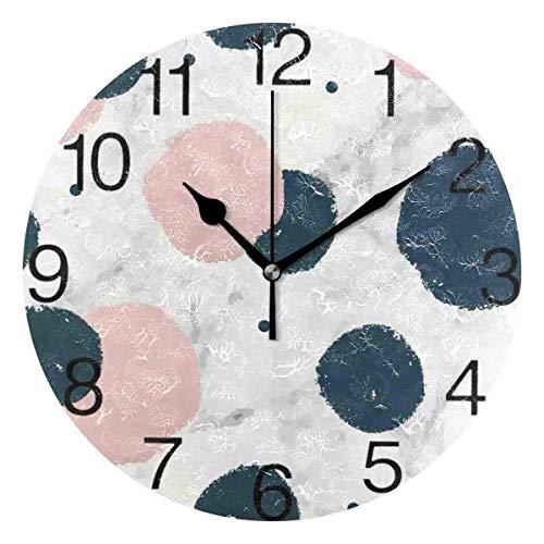 Meili Shop Reloj de Escritorio de Reloj de Pared Redondo de Lunares Minimalistas para la decoración de la Escuela de la Oficina en casa