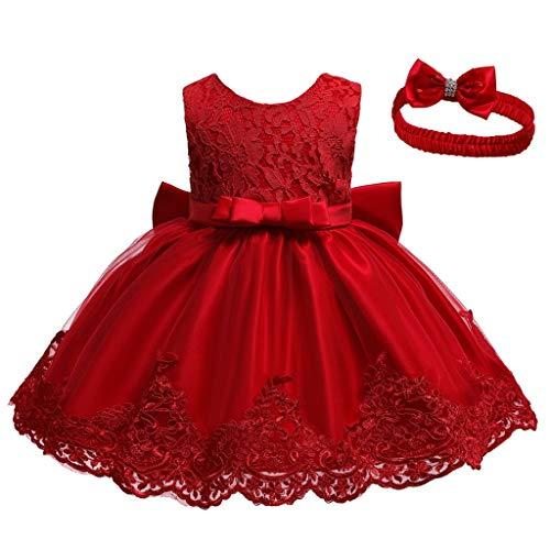 INLLADDY Baby Mädchen Prinzessin Kleid 2tlg Set Bowknot Spitze Taufkleid Festlich Kleid Hochzeit Party Festzug Taufe Tutu Kleid 0-83 Jahre Rot 6-12Monate
