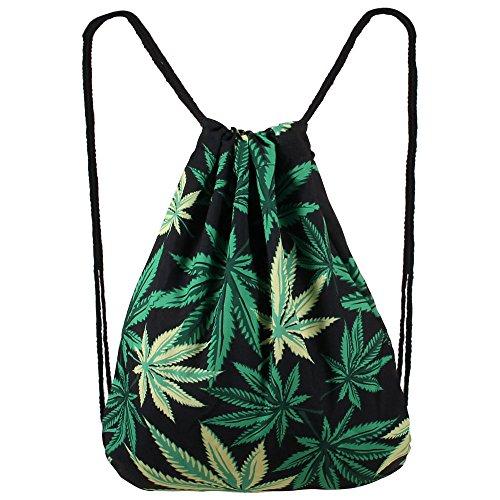 Hanessa Jutebeutel – Weed – mit lustigem Spruch Aufdruck Sportbeutel lustige Sprüche Tüte Rucksack Beutel Tasche Gym Bag Gymsack Hipster Fashion Sport-Tasche Einkaufs-Tasche