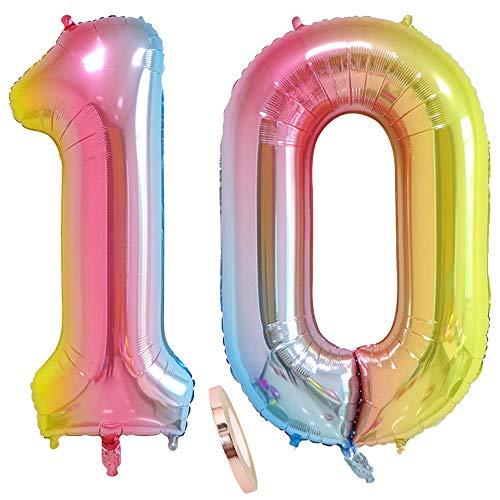 2 Luftballons Zahl 10, Nummer 10 Luftballon Regenbogen Mädchen Junge Jungs,40