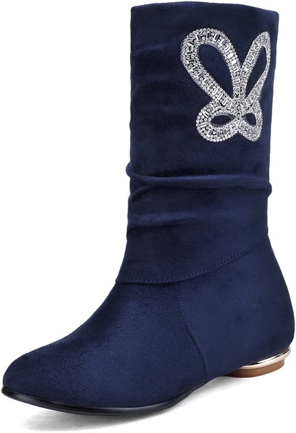 Ladola Ladies Square Heels Glass Diamond Frosted Boots