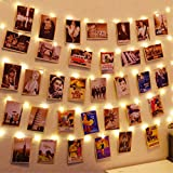 HXWEIYE 120LEDs Photo Clips String Light, Warm White 40Ft Fairy Light with 52 Clear Clips & 10 Hooks on Wall, Timer & 8 Modes USB Powered Copper Wire String Light for Hanging Picture, Bedroom Party
