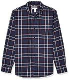 Amazon Essentials Men's Slim-Fit Long-Sleeve Plaid Flannel Shirt, Navy/Burgundy, Medium