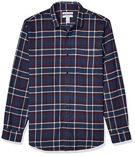Amazon Essentials Men's Slim-Fit Long-Sleeve Plaid Flannel Shirt, Navy/Burgundy, Large