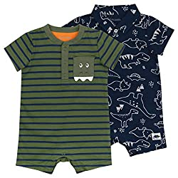 8. Mac & Moon Organic Cotton Dinosaur Baby Romper (2-Pack)
