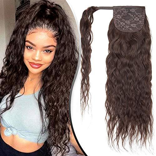 Queue de Cheval Bouclé Cheveux Naturel - Extension Rajout Vrai Cheveux Humain Afro Crépu - Attaché par Bande Agrippantes Adhésives (#02 CHATAIN FONCE, 35 cm)