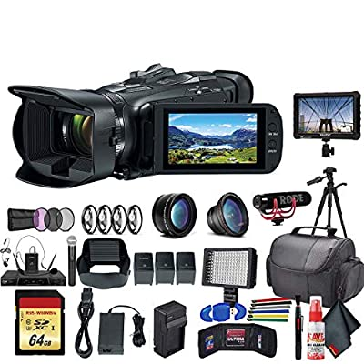 Canon Vixia HF G50 UHD 4K Camcorder (3667C002) with 2 Extra Batteries, Close Up Diopters,Tripod, Padded Case, LED Light, 64GB Memory Card, Tripod, External 4K Monitor, Rode Mic Go and Much More from Canon
