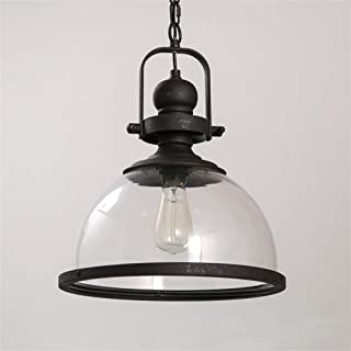 Beautiful Home Decoration Lamps Industrial Pendant Lamp Glass Lampshade Half-Dome Design Ceiling Lights E27 Bulb Black Iro...
