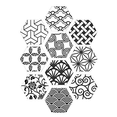 MXZJ 10PCS Tegel Sticker Keuken Badkamer Waterdichte Muursticker Zeshoek Tegel Sticker Zwart en Wit Baksteen Art Decoratie (20 * 23cm)
