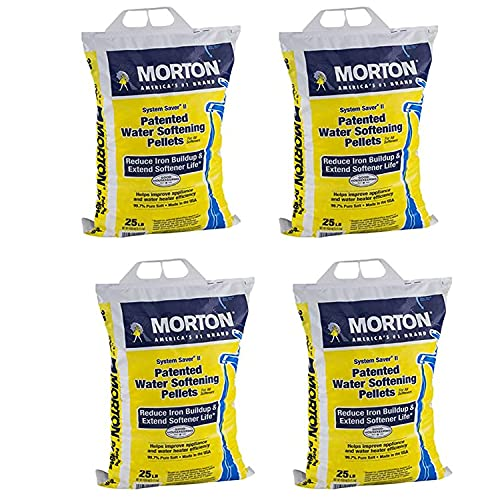 Morton Salt System Saver II Reduce Iron Buildup Phosphate Free Water Softener Pellets for Home Appliances and Water Heaters, 25 Pound Bag (4 Pack)