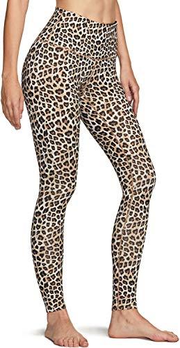 TSLA Damen Thermal Yoga-Hosen, hohe Taillen-Warm Fleece-Futter Gamaschen, Winter Workout Laufhose mit Taschen, Xyp83 1pack - Leopard, XL