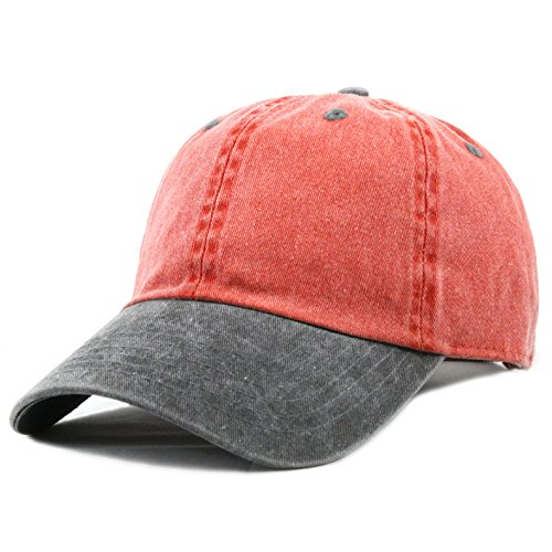 The Hat Depot Cotton Pigment Dyed Low Profile Six Panel Cap (Red Black)