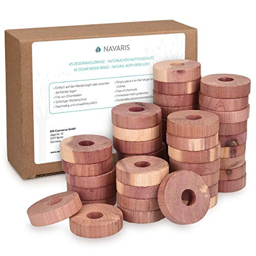 Navaris 45 Cedar Wood Anti-Moth Disks - Natural Moth Repellent for Clothes Wardrobe Drawers - 100% Biodegradable