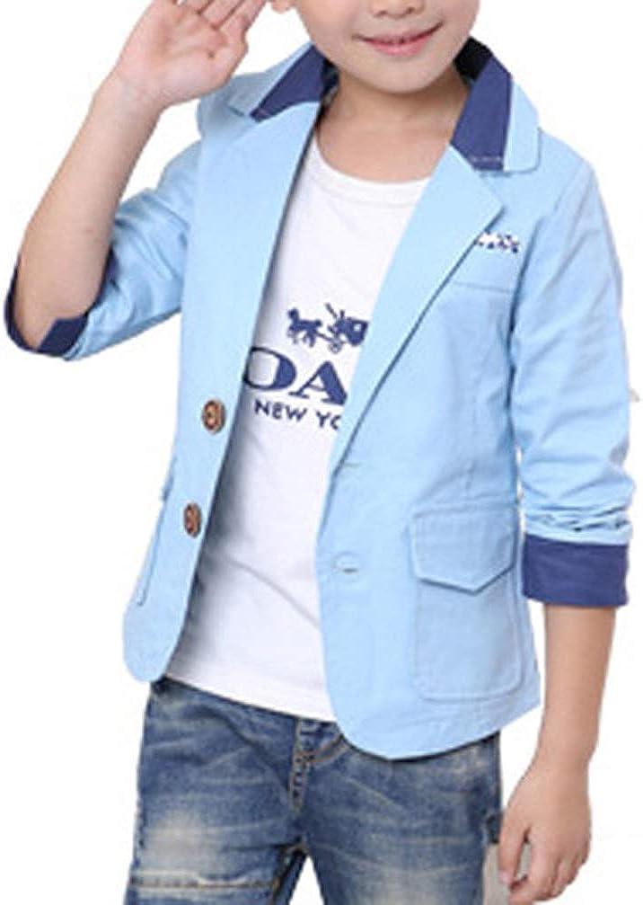 Boys Kids Formal Wedding Party Button Blazer Fashion Casual Suit Jacket