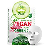 Vegan Mascarilla Facial de Tejido Extractos de Brócoli Romero Pepino Vitamina E Ingredientes...