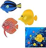 OHJ Acuario de peces brillantes artificiales de silicona con efecto brillante flotante para decoración de peces, peces, peces coloridos y falsos para peces, simulación de animales, 3 unidades