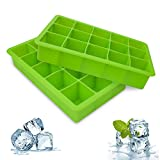 Ice Cube Trays, 2 Packs Silicone Ice Cube Tray FDA Approved Food Grade Ice Molds, 15 Cubs per Tray Best for Whiskey, Cocktail and Any Drink UK Delivery - Green