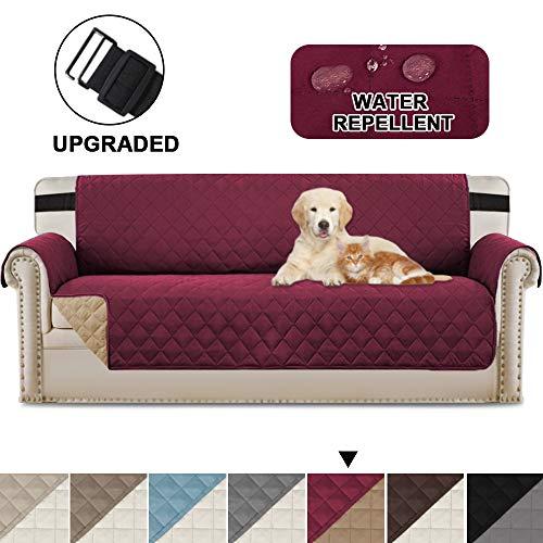 Umkehrbarer Möbelbezug, mit verstellbaren Riemen an Ort und Stelle bleiben, Schutz vor Haustieren, Flecken, Verschleiß und Abnutzung, (übergroßes Sofa: Burgund/Tan)
