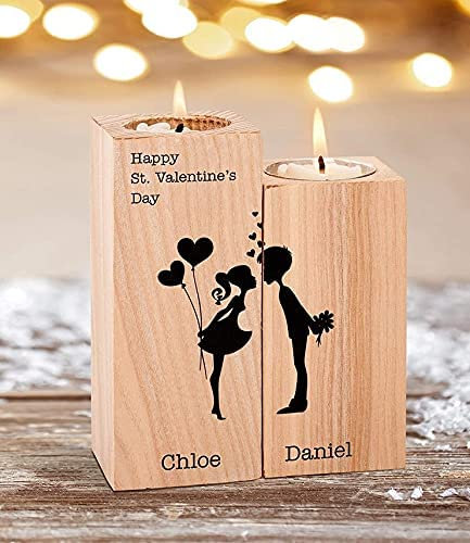 Personalized Save money Name Candle Holder Atlanta Mall Set Happy Can Day St Valentine's