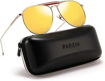 Parzin Polarized Aviator Unisex Sunglasses with Metal Frame