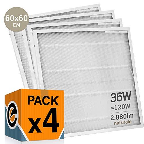 4x Pannelli LED 36W 60x60cm 2880 lumen - Luce Bianco Naturale 4000K - Fascio Luminoso 120°