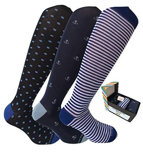 Lucchetti Socks Milano calze calzini uomo lunghe estive, in cotone mercerizzato fresco e leggero 3 paia colorate moda fashion (Taglia unica, Set Marinaio)