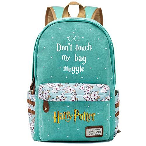 NYLY Mochila Escolar de Flores para niñas Mochilas Informales de Moda/de Compras/de Viaje, Mochila de la Serie Harry Potter (Estilo F) L Verde Claro