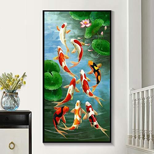 YQLKC Koi Fisch Wandkunst Bild HD Drucke Leinwand Malerei Chinesische Art Rot Koi Fisch Landschaft Für Wohnzimmer Modernes Dekor 15,7