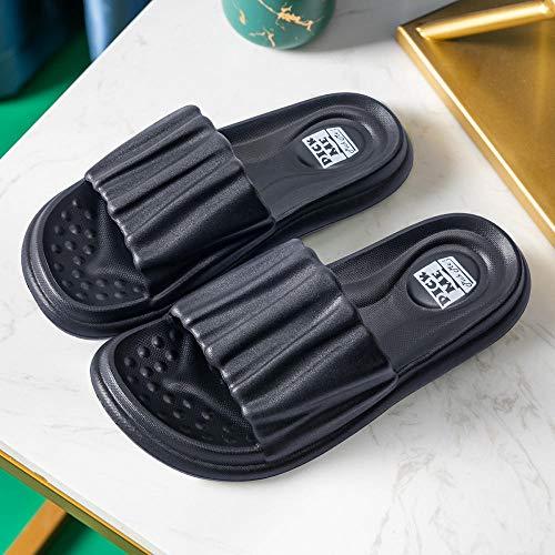 HUSHUI Sommer Home Slippers,Bad Hausschuhe mit weichen Sohlen, dickbesohlte Sandalen für Paare zu Hause-Black_39-40,Unisex Dusche Badeschuhe Hausschuhe