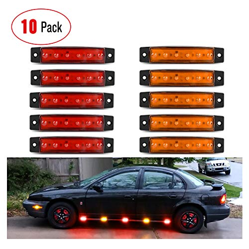 Nilight 2PCS 3.9Inch 3 LED Truck Trailer Red Light Front Rear LED Side Marker Lights Clearance Indicator Lamp Rock Light Waterproof Sealed Surface Mounted