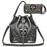 Sugar Skull Punk Art Rivet Studded Concealed Carry Purse Women Handbag Fashion Shoulder Bag Wallet Set (Gray Set)
